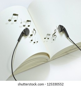 Book with melody of earphone