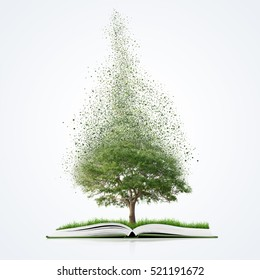 book of nature with grass and tree growth and disintegrate, isolated on white background