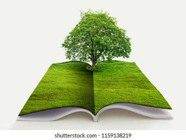 book of nature isolated on white open book in paper recycling concept 3d rendering book of nature with grass and tree growth on it over white blue background