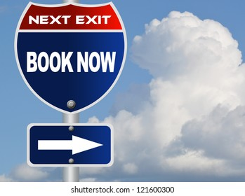 Book now road sign