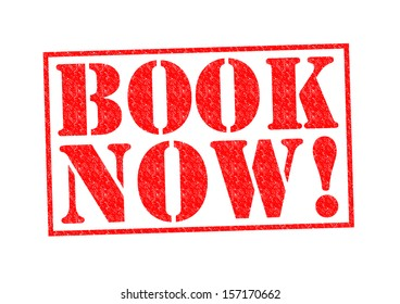 BOOK NOW! Rubber Stamp over a white background.