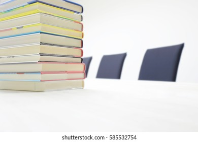 Book on the desk in the library