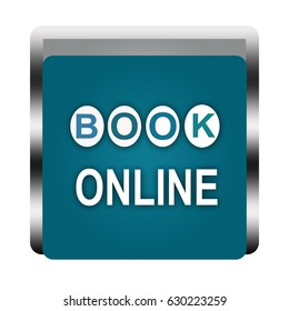 book online button isolated . 3d illustration .