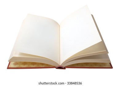 A book open with white pages isolated on background