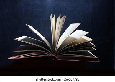 Book. Opened magic book, book on a dark background