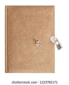 Book with padlock and key isolated on white background. Recycled paper