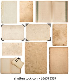 Book, paper sheet, cardboard, photo frame with corner isolated on white background. Scrapbook elements