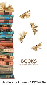 Book pile with flying away books isolated on white background. Education concept