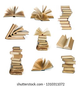 book pile set isolated on white background