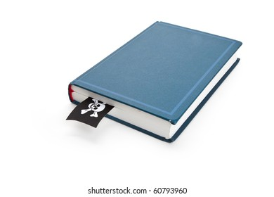 Book and Pirate Flag, concept of Piracy, Bad book
