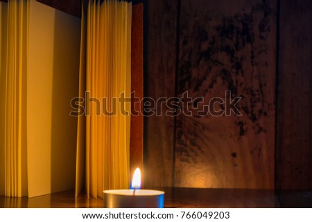 Book Placed Corner Table Dark Candlelight Stock Photo Edit Now