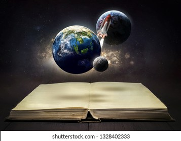 Book and planets in the space. Earth, Moon, space shuttle rocket and galaxy. Education and science theme. Elements of this image furnished by NASA