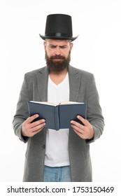 Book of poetry. Bearded man read book. Brutal bookworm isolated on white. Unshaven bibliophile. Reading book. Knowledge and information. Library and bibliotheca. Book shop.