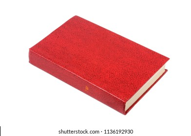 A book in a red binder is isolated on a white background. Front view.