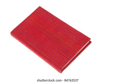 Book red cover fabric isolated on white background