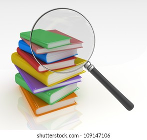 Book Search  Magnifying glass trying to find the right book