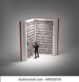 Book shaped bookshelf - 3d illustration