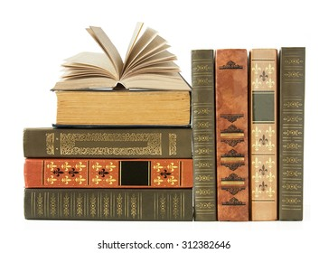 Book shelf with antique books isolated on white background