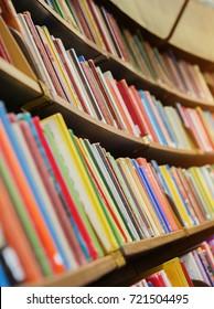 book shelf in a library