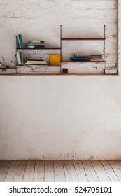 Book shelf on a brick wall. Interior home decoration. Grain texture added.