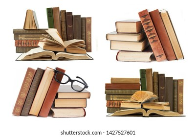 Book shelf set isolated on white background