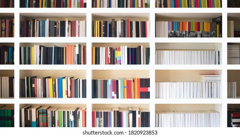 Book shelves with blurry effect on book cover.