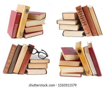 book shelves set isolated on white background