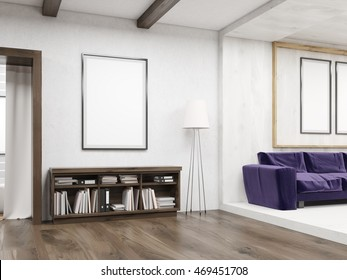 Book shelves and vertical posters in modern living room interior. Concept of home sweet home. 3d rendering. Mock up
