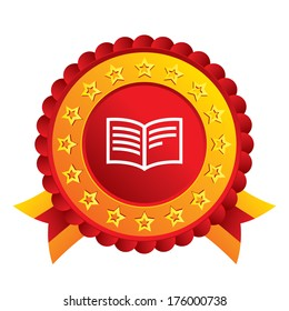 Book sign icon. Open book symbol. Red award label with stars and ribbons.