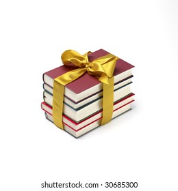 a book stack gift isolated on a white background.