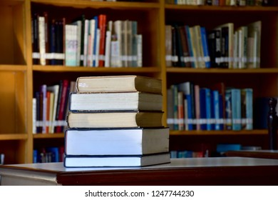 Book stack in the library room