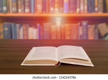 Book stack on the library