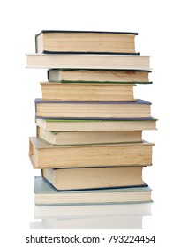 Book stack on white