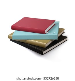 Book stack on a white background