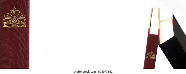 Book stack on a white background (banner)