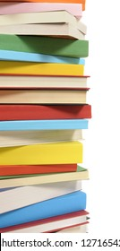 Book stack : vertical border of colorful books isolated on white background.