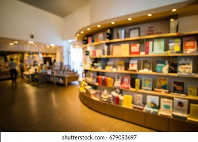 Book store or library interior abstract blur background