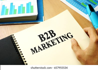 Book with title b2b marketing in an office.