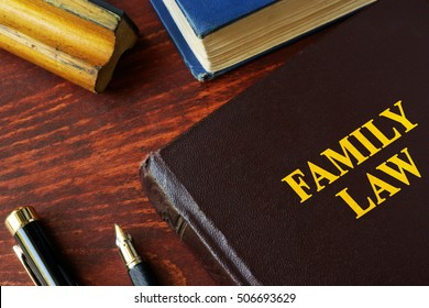 Book with title family law on a table.