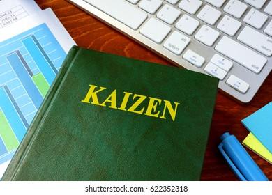 Book with title Kaizen. Continuous improvement concept.