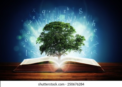 Book or tree of knowledge concept with an oak tree growing from an open book and letters flying from the pages