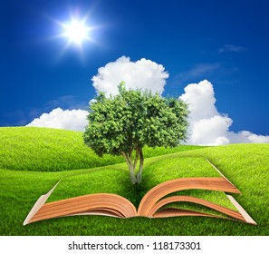 Book with tree on  green grass and blue sky