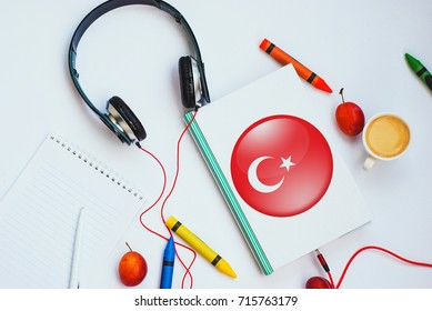 Turkish language images stock photos vectors shutterstock the book with turkish flag and headphones concept of turkish learning through audio courses m4hsunfo