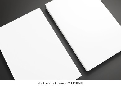Book with white hardcover isolated on black. 3d render. Template to showcase your presentation.