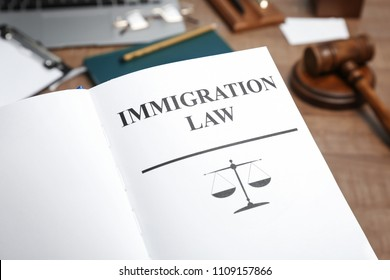 Book with words IMMIGRATION LAW on table, closeup