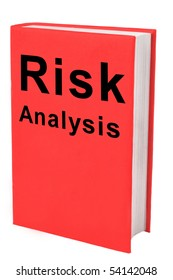 Book with words Risk Analysis on red cover