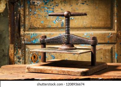 bookbinding hand sewn with metallic vintage press