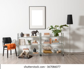 bookcase and accessories and frame wall concept room decoration