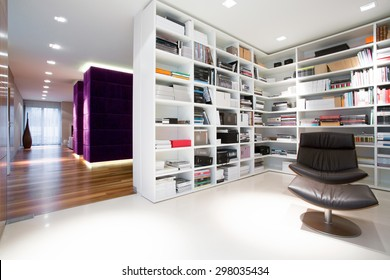 Bookcase full of books in domestic library