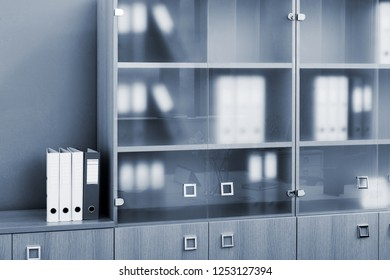 bookcase with glass doors in modern office